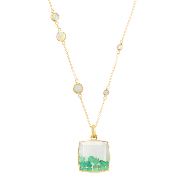 emerald crytsal pendant in gold by JULI KA fine arts jewelry