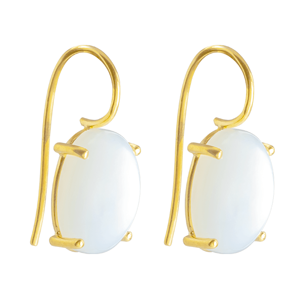 SHINY WHITE CASHMERE OVAL MOONSTONE EARDROPS IN 18K YELLOW GOLD