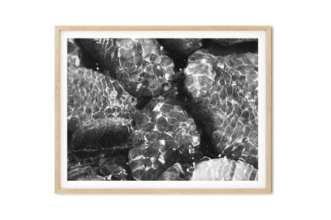 Babbling Brook Wall Art - Giclée Art Print in Black and White