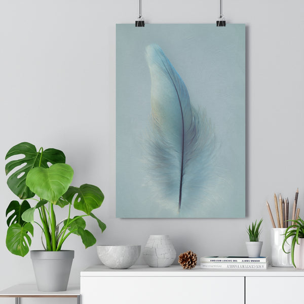 Grey Macaw Parrot Feather Down | Feather Wall Art  - Giclée Art Print