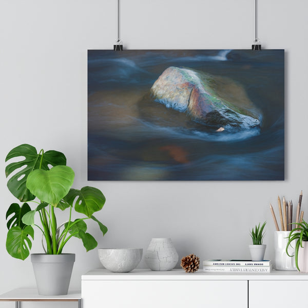 Meditation Rock | Waterfall Wall Art | Giclée Art Print