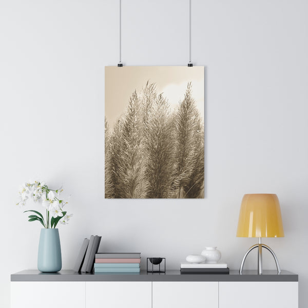 Pampas Grass Botanical Painting #3 Vintage Sepia Wall Art - Giclée Art Print