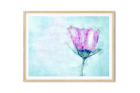Pink Cosmo Watercolor Floral Wall Art - Giclée Fine Art Print