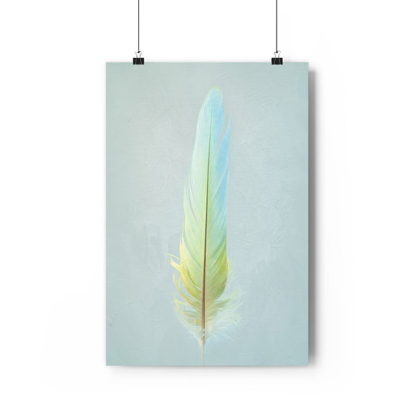 Powder Blue and Yellow Parrot Feather Wall Art - Giclée Art Print - FRONT SIDE