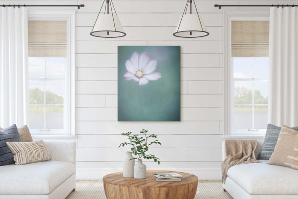 White and Pink Cosmo Floral Wall Art - Giclée Art Print