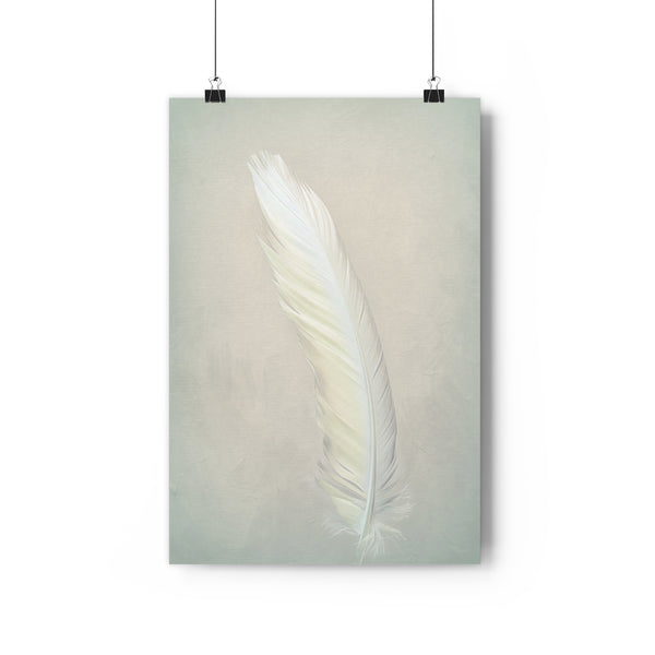 White Cockatoo Feather Wall Art  - Giclée Art Print