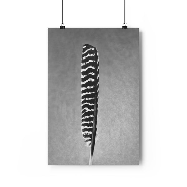 Wild Turkey Feather Wall Art  - Giclée Art Print in Black and White