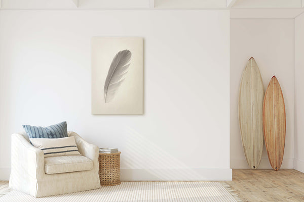 Blue Macaw Parrot Feather Wall Art  - Giclée Art Print in Vintage Sepia