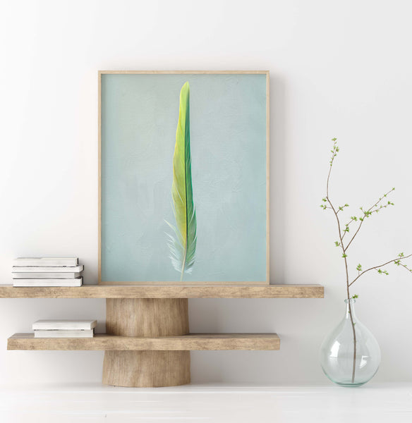 Green Camelot Macaw Tail Feather Wall Art  - Giclée Art Print