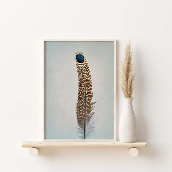 Grey Peacock Pheasant Feather #2 | Feather Wall Art  - Giclée Art Print