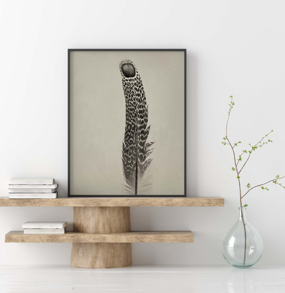 Grey Peacock Pheasant Feather #2 | Feather Wall Art  - Giclée Art Print in Vintage Sepia