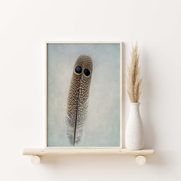 Grey Peacock Pheasant Feather Wall Art  - Giclée Art Print