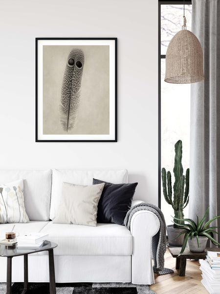 Grey Peacock Pheasant Feather Wall Art  - Giclée Art Print in Vintage Sepia