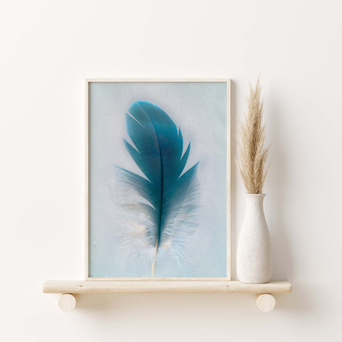 Blue Macaw Parrot Feather Down | Feather Wall Art  - Giclée Art Print