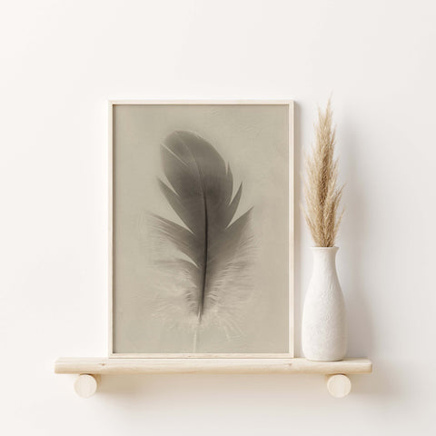 Blue Macaw Parrot Feather Down | Feather Wall Art  - Giclée Art Print in Vintage Sepia