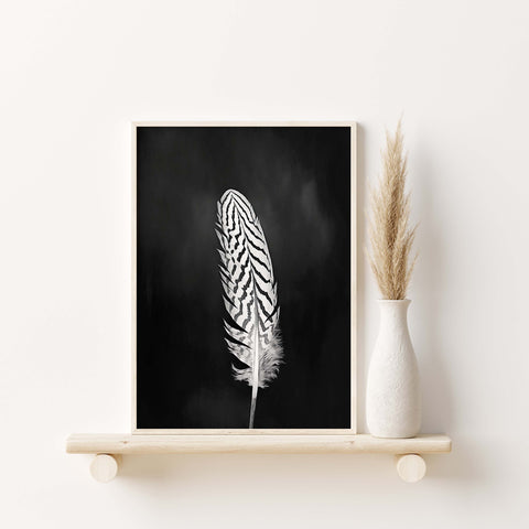 Pheasant Feather Print | Feather Wall Art  - Giclée Art Print in Black and White