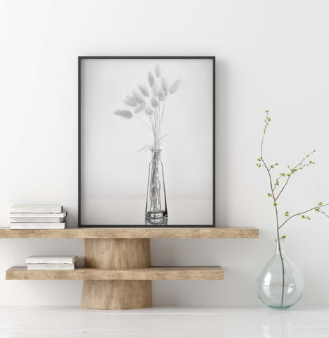 Dried Grasses in Glass Vase | Minimalist Still Life Wall Art  | Giclée Art Print in Black and White