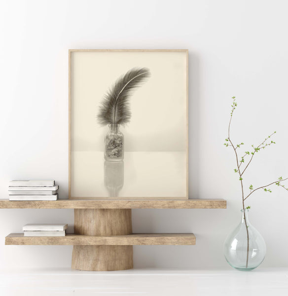 Purple Feather in Amethyst Crystals | Minimalist Still Life Wall Art  | Giclée Art Print in Vintage Sepia