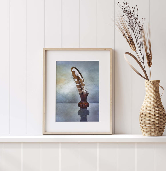 Feather Print | Brown and White Feather in Brass | Minimalist Still Life Wall Art  | Giclée Art Print