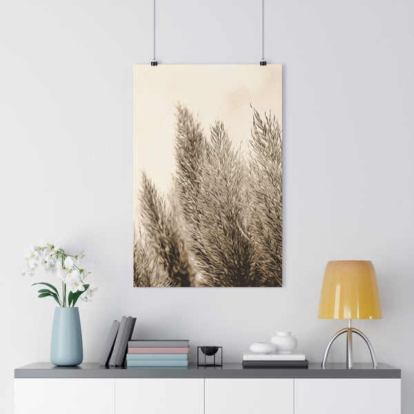 Pampas Grass Botanical Painting #6 Vintage Sepia Wall Art - Giclée Art Print