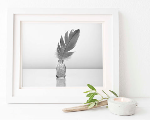 Feather Print | Juffer Crane Feather in Crystal Bottle | Feather Wall Art | Giclée Art Print in Black and White