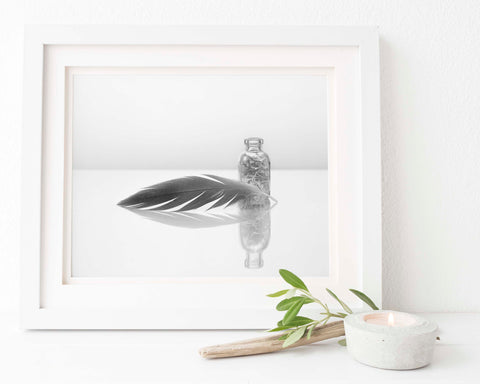 Feather Print | Juffer Crane Feather Reflection | Feather Wall Art | Giclée Art Print in Black and White