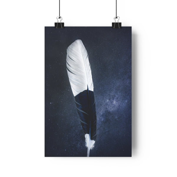 African Trumpeter Hornbill Feather | Feather Wall Art  - Giclée Art Print