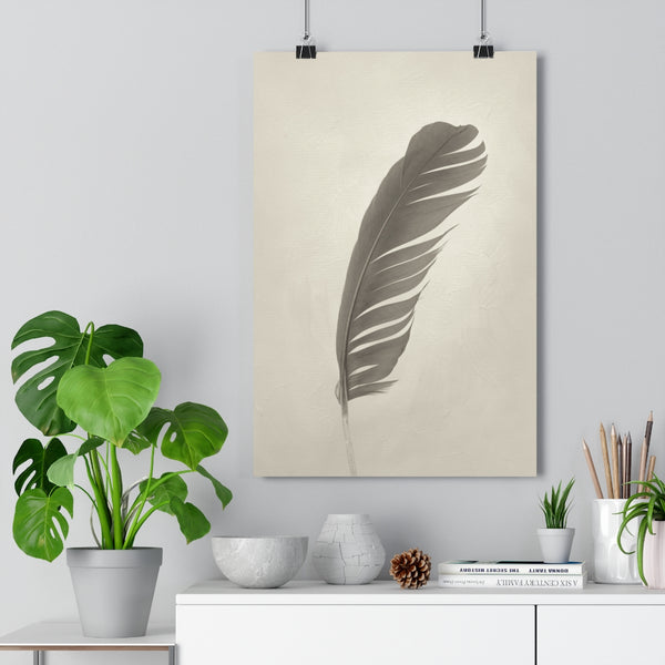 Blue Macaw Wing Feather Wall Art  - Giclée Art Print in Vintage Sepia