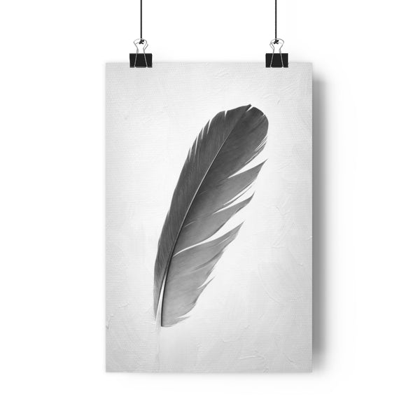 Blue Macaw Parrot Feather Wall Art  - Giclée Art Print in Black and White