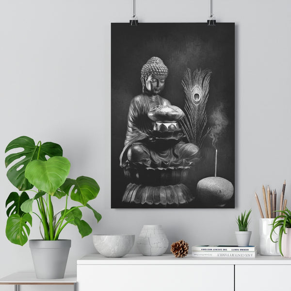 Buddha Contemplates Flame Wall Art  - Giclée Art Print in Black and White