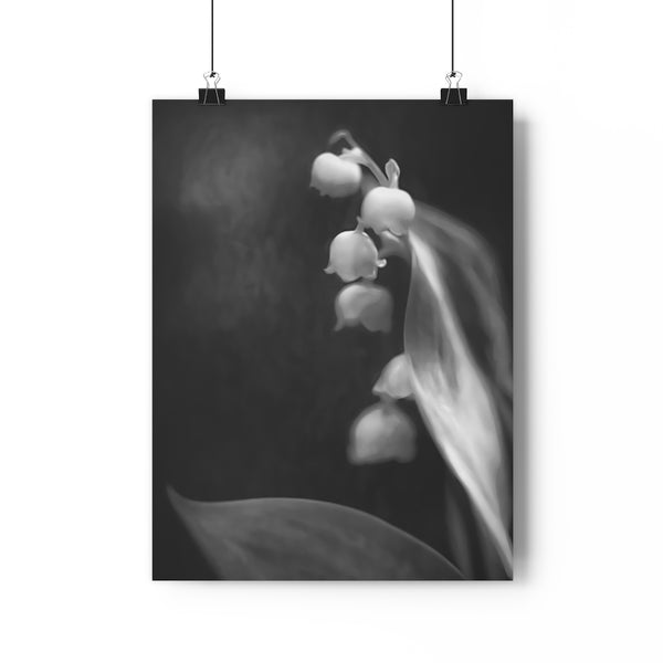 Lily of the Valley Wall Art - Giclée Art Print in Black and White