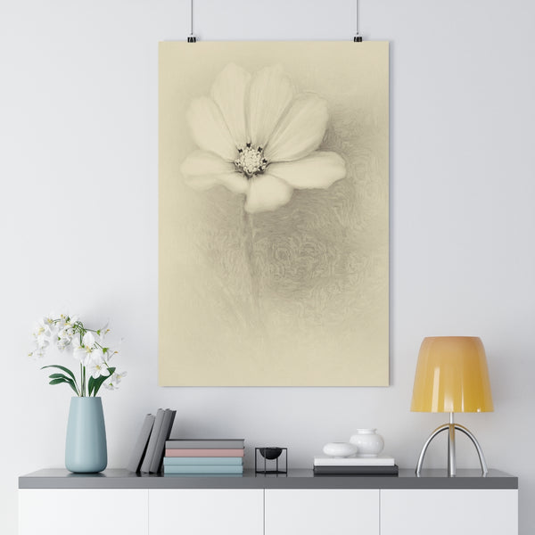 White and Pink Cosmo Vintage Floral Wall Art - Giclée Art Print