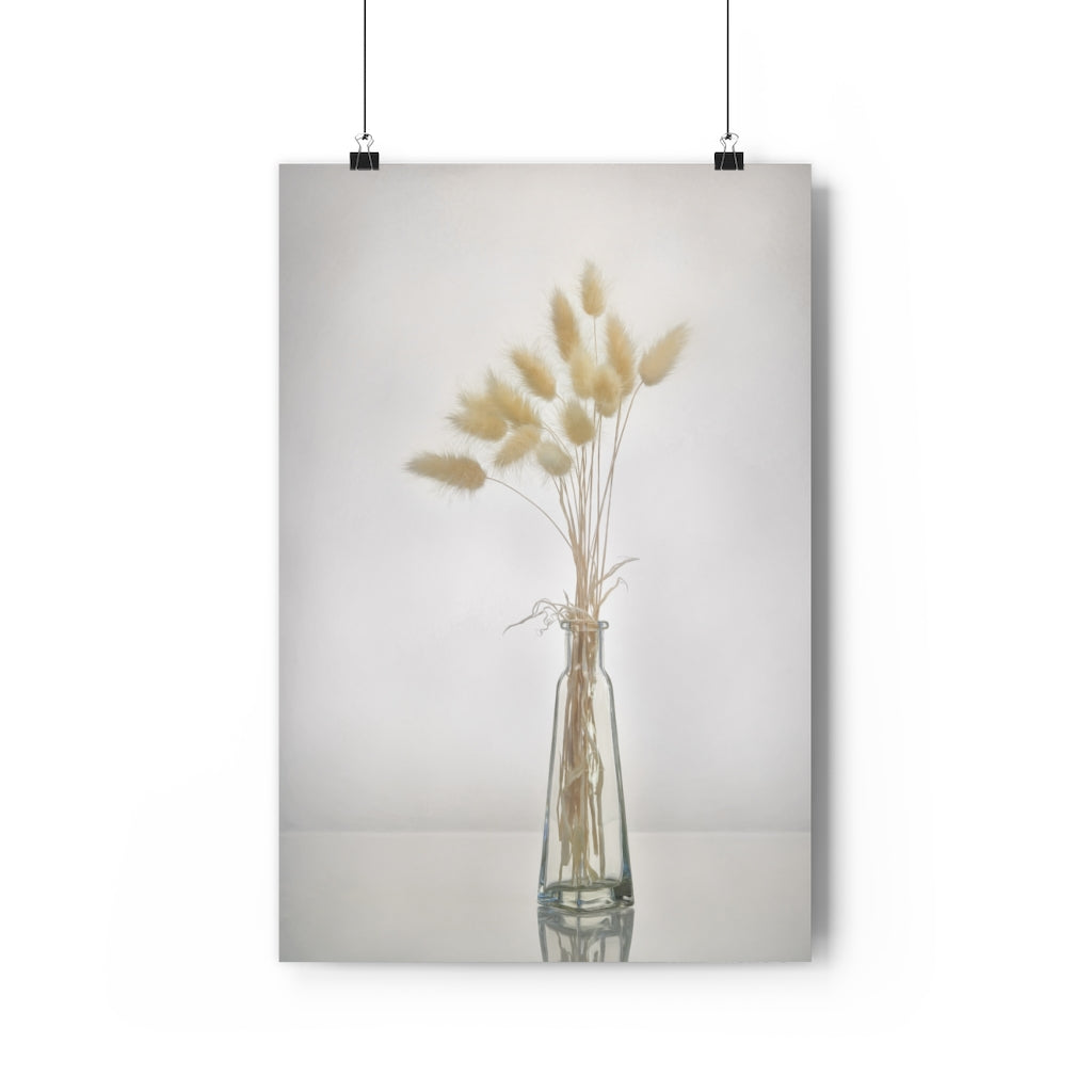 Dried Grasses in Glass Vase | Minimalist Still Life Wall Art  | Giclée Art Print