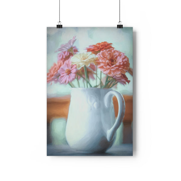 Zinnia Bouquet Floral Wall Art - Giclée Art Print