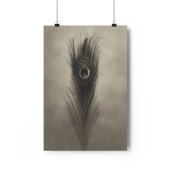 Peacock Feather Art | Feather Wall Art  - Giclée Art Print in Vintage Sepia