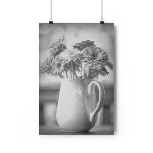 Zinnia Bouquet Floral Wall Art - Giclée Art Print in Black and White