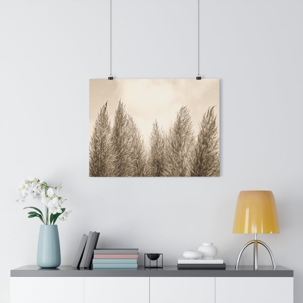 Pampas Grass Botanical Painting #7 Vintage Sepia Wall Art | Giclée Art Print