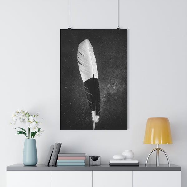 African Trumpeter Hornbill Feather | Feather Wall Art  - Giclée Art Print in Black and White