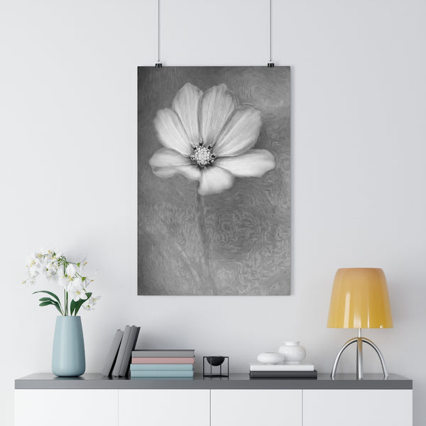 White and Pink Cosmo Floral Wall Art - Giclée Art Print in Black and White