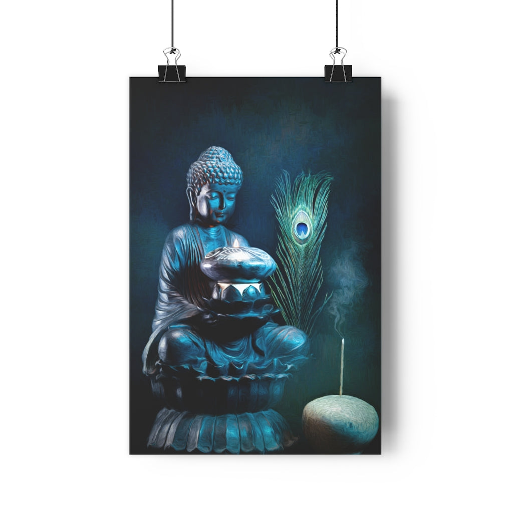 Buddha Contemplates Flame Wall Art  - Giclée Art Print