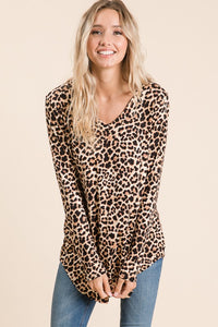 Leopard Long Sleeve Tunic Top