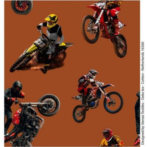 Tissu Jersey Moto cross fond marron