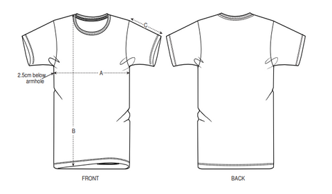 T-shirt drawing with reference points for correct measuring.