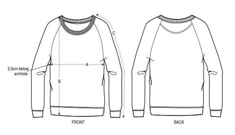 Drawing of a sweatshirt referencing measurement points.