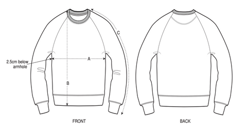 Drawing of a sweatshirt referencing measuring points.
