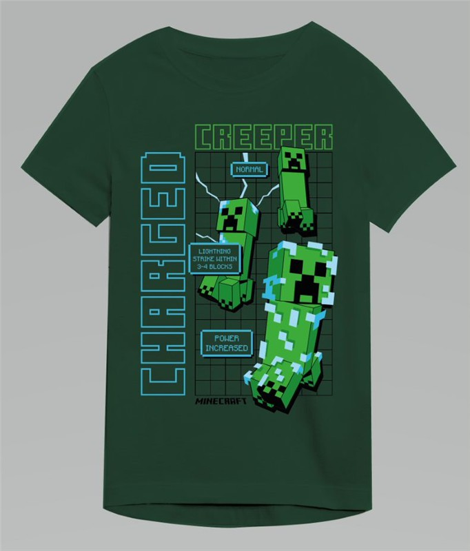 Minecraft T-shirt med Creeper charged print