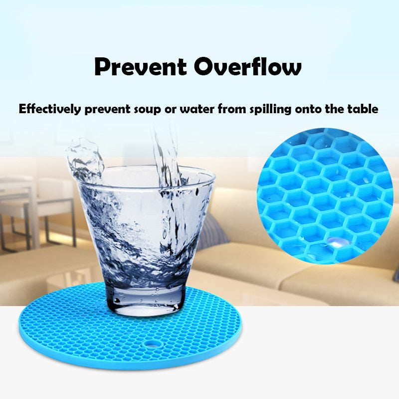 Round Heat Resistant Silicone Mat Drink Cup Coasters Kitchen Accessories