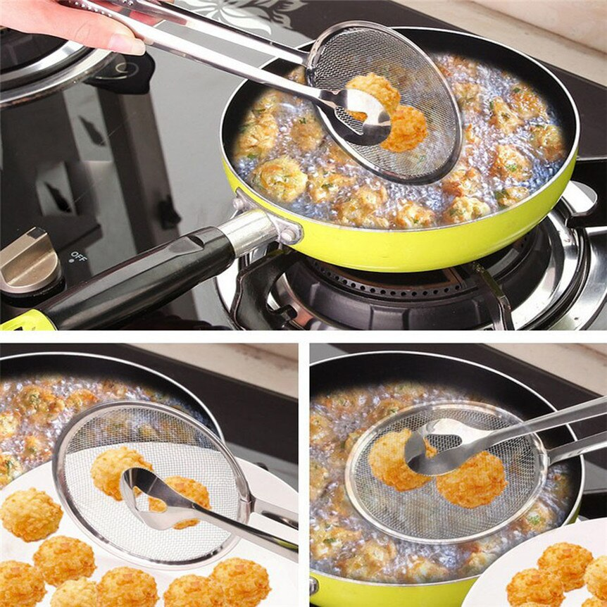 Kitchen Fried multifunctional stainless steel filter spoon and clamp