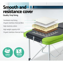 Load image into Gallery viewer, Zenses 3 Fold Portable Aluminium Massage Table - Green & Black