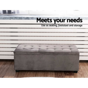 Artiss Storage Ottoman Blanket Box Velvet Foot Stool Rest Chest Couch Toy Grey